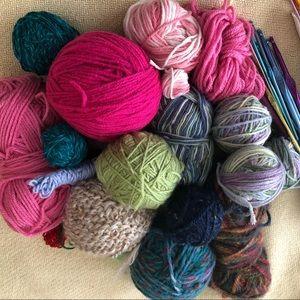 Yarn and knitting needles, crochet hooks